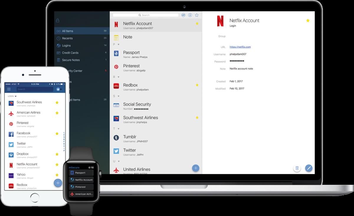mSecure for Mac OS X full screenshot